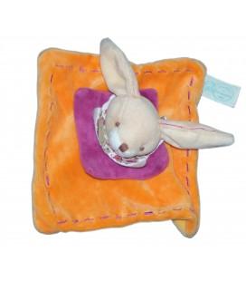 DOUDOU ET COMPAGNIE - Lapin orange Fushia Carré 16 cm