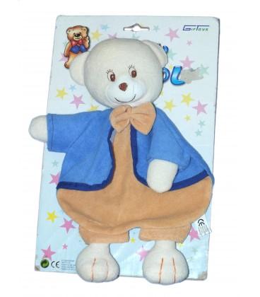 Doudou plat OURS beige bleu Babycalinou - GIFTOYS - Grelot - H 28 cm