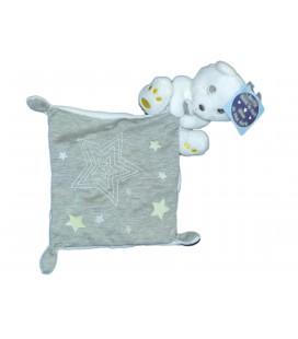 Doudou Peluche Ours Blanc Gris Jaune Mouchoir Étoiles Luminescente SIMBA 569/0053