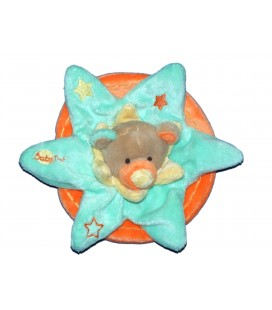 Doudou Plat OURS bleu vert orange - BABY NAT Babynat - Etoile
