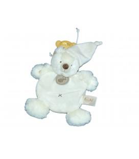 Doudou Plat OURS blanc Croix marron - BABY NAT Babynat - BN560