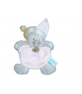 Doudou Plat OURS Ourson Calin rose Gris Croix BN659 - BABY NAT Babynat - BN659