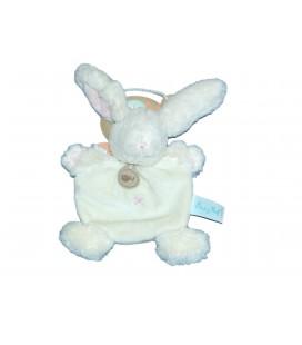 Doudou Plat LAPIN Calin blanc Croix rose - BABY NAT Babynat - BN659