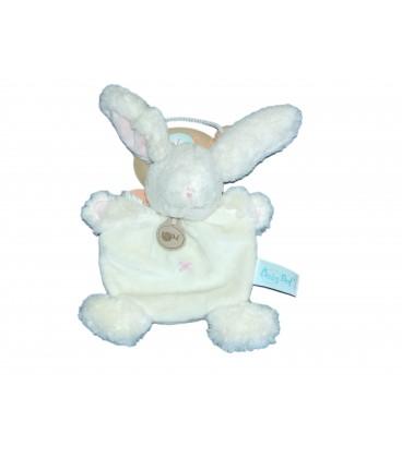 Doudou Plat LAPIN Calin blanc Croix bleue - BABY NAT Babynat - BN659