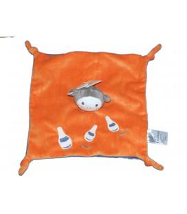 Doudou plat SINGE Orange bleu - Kitchoun Kiabi Jogystar
