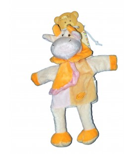 Doudou Marionnette VACHE jaune orange - BABY NAT Babynat - PE855BN