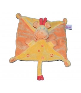 Doudou plat Girafe - POMMETTE - Jaune orange - Ronds 7086