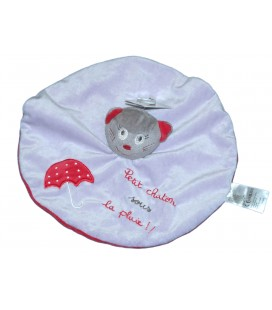 Doudou plat rond CHAT Mauve - Petit chaton sous la pluie - Kitchoun Jogystar - Parapluie