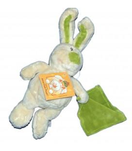 Doudou Peluche LAPIN Mr Lucas Blanc crème vert Mouchoir - ANNA CLUB PLUSH - H 25 cm
