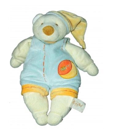 Doudou OURS Fripon Salopette - Bleu orange - BABY NAT Babynat - H 30 cm
