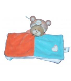 Doudou Plat OURS bleu orange - Bubble Gum - BABY NAT Babynat - BN685