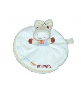 Doudou plat rond Renne Cerf Elan - Blanc - Protect the animals - TAPE A L'OEIL