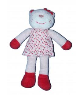 Doudou Peluche - CHAT blanc rose Rouge - Robe fleurs - TAPE A L'OEIL - H 28 cm