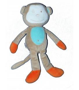 Doudou peluche singe beige bleu orange - TAPE A L'OEIL - H 26 cm