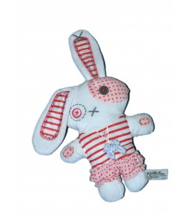 Doudou LAPIN blanc rose rouge - TAPE A L'OEIL