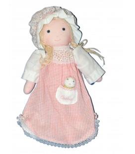 VINTAGE - Poupée Chiffon tissu CARRIE - Robe rose carreaux poche - H 30 cm