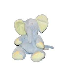 Doudou Peluche ELEPHANT bleu Vert - Kiabi Avda
