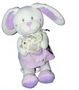 Doudou peluche Musicale LAPIN blanc mauve - TEX Baby Carrefour - H 28 cm