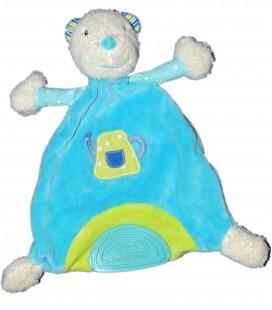 Doudou plat OURS bleu vert BABYSUN Baby Sun - Anneau dentition