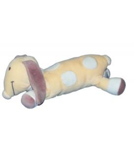 Doudou CHIEN long allongé Crème mauve KIABI Avda Nicotoy L 25 cm