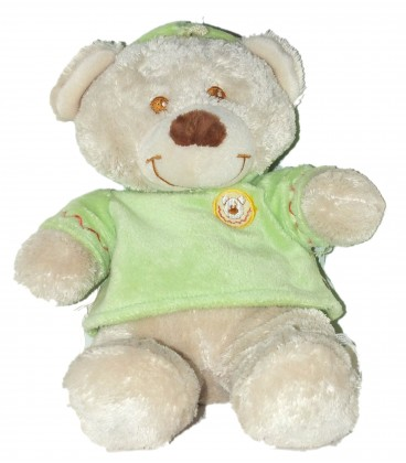 Doudou Peluche OURS blanc FOMAX - Pull Vert - H 35 cm