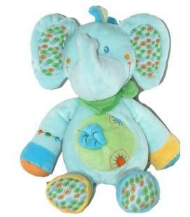 Doudou peluche Elephant bleu - VETIR Nicotoy - Feuille bleue - H 28 cm
