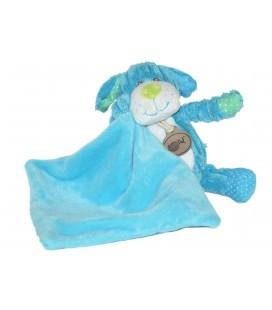 Doudou CHIEN bleu vert - Cotelé Pantin Mouchoir - BABY NAT' Babynat