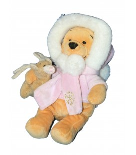 RARE ET COLLETOR - Peluche Doudou WINNIE l'ourson - Manteau rose Capuche - Renne - 22 cm - Disney Store London