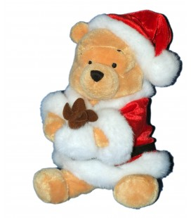 RARE ET COLLETOR - Peluche Noël - Doudou WINNIE l'ourson - Santa Pooh - Nid Oiseau - H 24 cm - Disney Store London