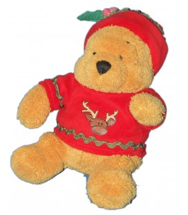 Peluche Noël - Doudou WINNIE l\'ourson - Light up Jumper Pooh - Pull bonnet renne - H 20 cm - Disney Store London