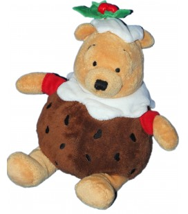 RARE ET COLLETOR - Peluche Noël - Doudou WINNIE l'ourson - Houx - H 24 cm - Disney Store London