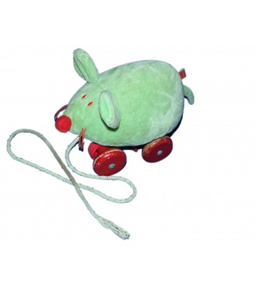 Doudou peluche à roulettes - SOURIS Verte JACADI - L 26 cm
