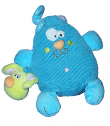 Doudou peluche CHAT bleu et souris - CREATIV TOYS - H 20 cm