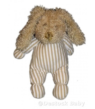 Doudou LaPIN marron clair beige rayures blanches CaDET ROUSSELLE - 24 cm