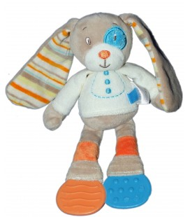 Doudou LAPIN blanc beige bleu dentition - TEX Baby Carrefour - Coquard Rayures - H 26 cm