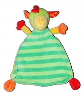 Doudou plat Dragon Dinosaure Cheval Vert rayé - BABYSUN Nursery - Grelot