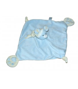 Doudou plat SOURIS Bleue - GIPSY - 2 noeuds - Pattes