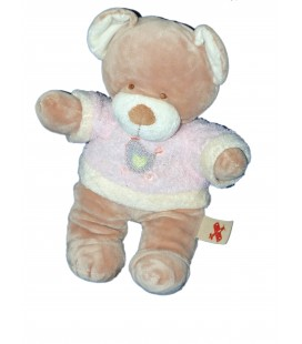 Doudou peluche OURS Pull rose Oiseau - Nicotoy - H 26 cm