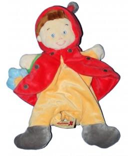 Doudou Marionnette Lutin Garçon Coccinelle jaune rouge Nicotoy