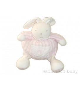 Doudou LaPIN boule rose et blanc - TaRTINE ET CHOCOLaT - 22 cm