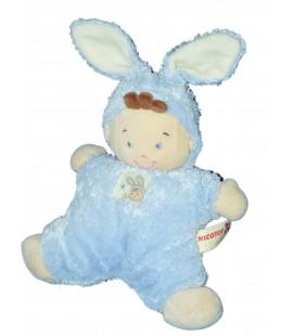 Doudou coussin semi plat garçon Lutin bleu lapin NICOTOY 28 cm Etoile