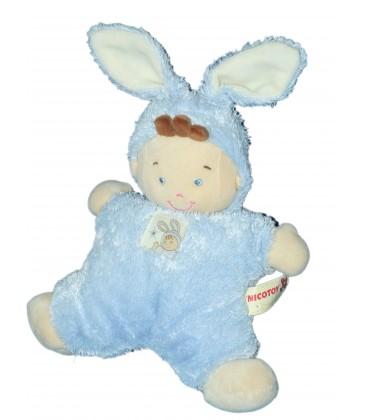 Doudou coussin semi plat Lutin bleu déguisé lapin - NICOTOY