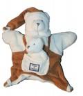 DOUDOU ET COMPAGNIE - Marionnette OURS blanc marron avec son doudou - Poche devant