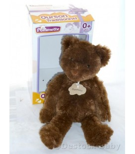 Doudou peluche OURS marron brun POMMETTE Intermarché - 38 cm Ourson traditionnel