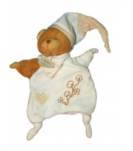 DOUDOU ET COMPAGNIE - Marionnette OURS blanc beige marron BIO