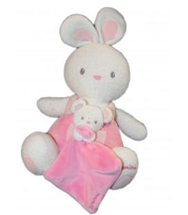 Doudou Luminou - Lapin Rose 32 cm et son bébé - Peluche Photoluminescente Sans Pile - Se Voit Dans Le Noir