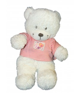Doudou peluche OURS blanc T shirt rouge rayures Oiseau - TEX Baby Carrefour - H 25 cm