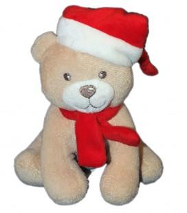 Doudou chien ours beige Bonnet rouge - KIMBALOO La Halle ! - 16 cm