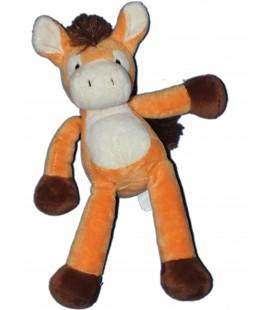 NICOTOY Doudou peluche CHEVAL orange - H 30 cm - 583/2983