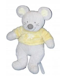 Doudou Peluche Souris grise jaune Fleur - Nicotoy The Baby collection 30 cm